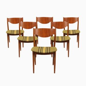 Danish Striped Chairs, 1960s, Set of 6
