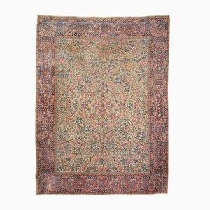 Antique Woolen Floral Kirman Rug