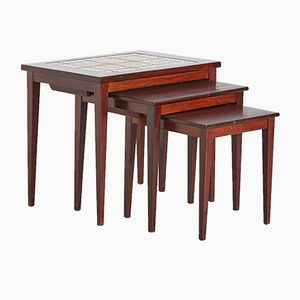 Rosewood Nesting Tables with Ceramic Inlay, 1970s