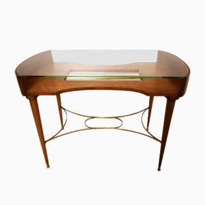 Tavolino da caffè in legno di ciliegio, ottone e cristallo, Italia, anni '50