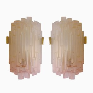 Mid-Century Frosted Glass & Brass Wall Sconces, 1960s, Set of 2