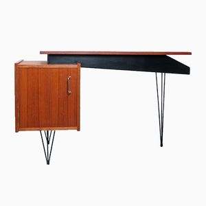 Dutch Teak Veneered Desk with Hairpin Legs from Tijsseling Nijkerk, 1950s
