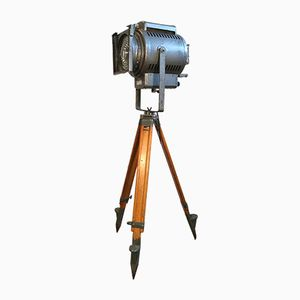 Vintage Industrial Theatre Spotlight Tripod Lamp