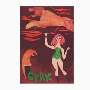 Polish Cyrk Poster by Jerzy Srokowski for WAG, 1960s