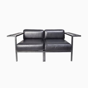 French Black Leather Lounge Chairs, 1980s, Set of 2