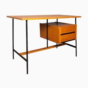 French Oak Veneer and Metal Desk, 1960s