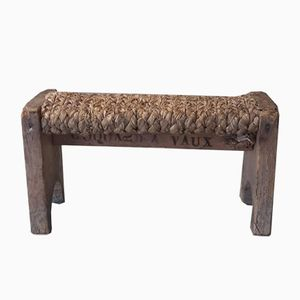 Early 19th Century Footstool in Straw and Wood