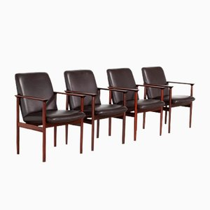 Leather & Rosewood Armchairs, 1960s, Set of 4