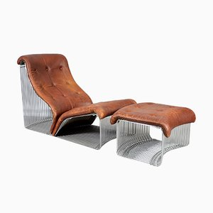 Vintage Pantonova Lounge Chair with Ottoman by Verner Panton for Fritz Hansen