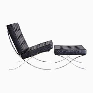 Vintage Black Leather Lounge Chair & Ottoman