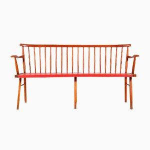 3-Seater Teak & Skai Bench, 1960s