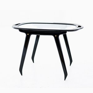 Italian Black Wood & Glass Coffee or Service Table by Cesare Lacca, 1950s