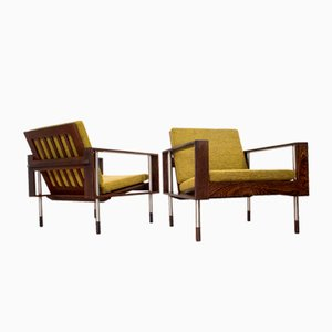 Mid-Century Lounge Chairs in Wengé from Fristho, 1950s, Set of 2