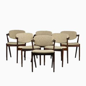 Vintage Model 42 Armchairs by Kai Kristiansen for Schou Andersen, Set of 6