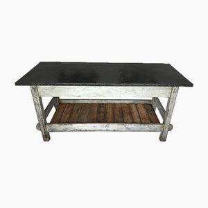 Vintage Industrial Worktable with Zinc Tabletop