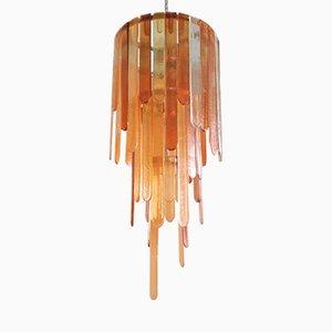 Lámpara de araña Mid-Century grande de cristal de Murano de Mazzega