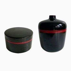 Accesorios de mesa de baquelita lacada en rojo y negro de Chabrières et Cie, años 70. Juego de 2