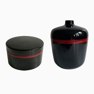 Black & Red-Lacquered Bakelite Tableware Set from Chabrières et Cie, 1970s, Set of 2