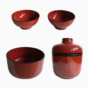 Schwarz und rot lackiertes Bakelit Geschirr Set von Chabrières et Cie, 1970er, 4er Set