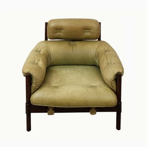 Oak Lounge Chair with Green Leather Upholstery, 1970s