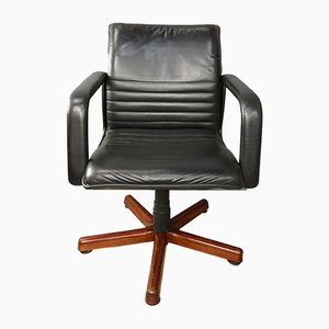 French Leather & Wood Swivel Office Chair, 1960s