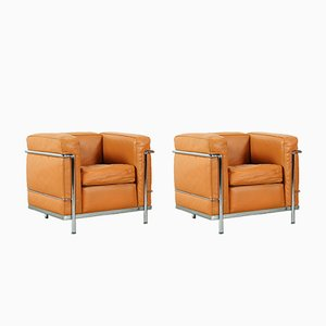LC 2 Lounge Chairs by Le Corbusier for Cassina, 1970s, Set of 2