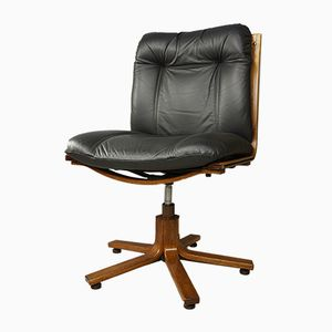 Leather and Wood Swivel Office Chair, 1970s