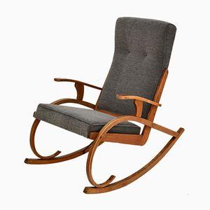 Rocking Chair Moderniste Tchèque en Bois Courbé, 1930s