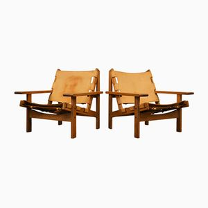 Vintage Oak & Leather Lounge Chairs by Erling Jessen for Dahlmanns, Set of 2