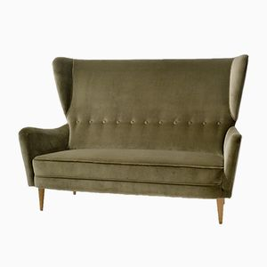 2-Seater Wingback Sofa in Grey Velvet by Paolo Buffa, 1950s