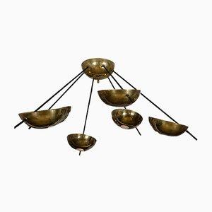 Large Brass Starburst Chandelier, 1960s