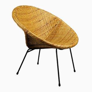 Hoop Basket Chair in Rattan, 1960s