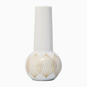 Vintage White Porcelain Vase with Gold Lines by Bjorn Wiinbald for Rosenthal Studio Line