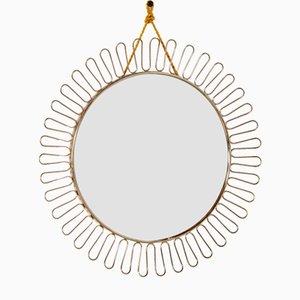 Specchio Mid-Century a forma di sole in ottone di Josef Frank, anni '50