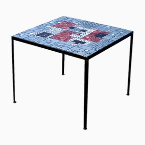 Square Mosaic Side Table with Red Glass, 1960s