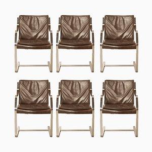Braune Vintage Leder Bürostühle von Knoll International, 1970er, 6er Set