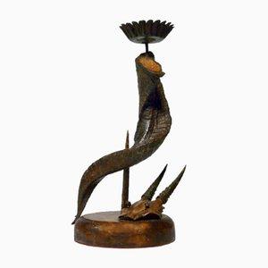 Antiker Kerzenhalter mit Metall Horn