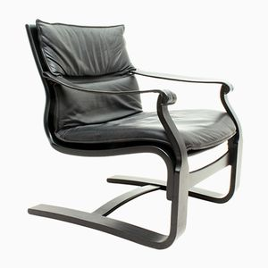Swedish Black Plywood & Leather Lounge Chair by Åke Fribytter for Nelo, 1970s