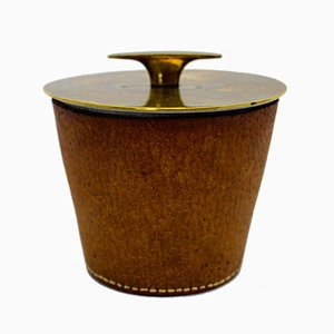 Leather Bin by Carl Auböck, 1950s