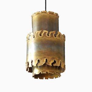 Handmade Danish Brutalist Brass Pendant Lamp by Holm Sørensen, 1960s