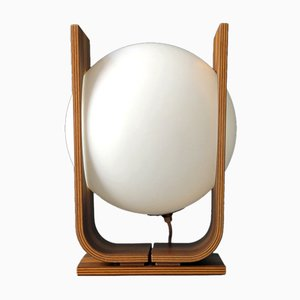 Large Mid-Century Plywood Table Lamp with Walnut Veneer from Temde, 1960s