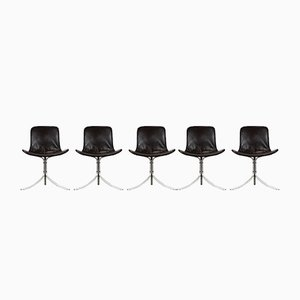 PK9 Chairs by Poul Kjærholm for Fritz Hansen, 1980s, Set of 5