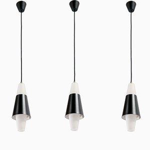 Scandinavian Pendant Lights, 1960s, Set of 3
