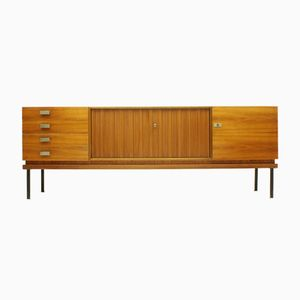 Walnut Sideboard with Slatted Doors & Brass Details, 1950s