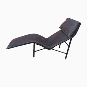 Scandinavian Leather Chaise Lounge by Tord Bjorklund, 1970s