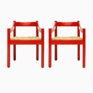 Italian Red Beech & Woven Rush Carmite Armchairs by Vico Magistretti for Cassina, 1960s, Set of 2