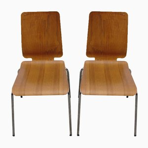 Bent Plywood Chairs, 1980s, Set of 2