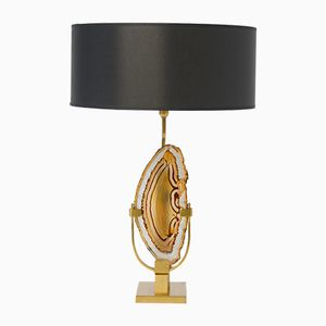 Brass and Agate Table Lamp by Willy Daro, 1970s