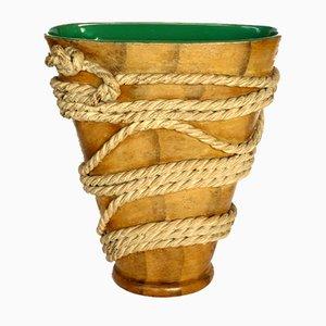 Art Deco Terrakotta & Seil Vase von Ugo Zaccagnini