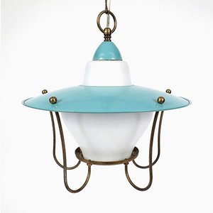 Brass & Opaline Glass Pendant, 1950s